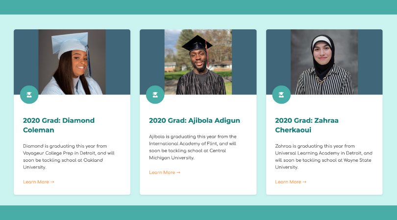 Our grad series covers five outstanding grads. Their profiles are organized like this on our website.