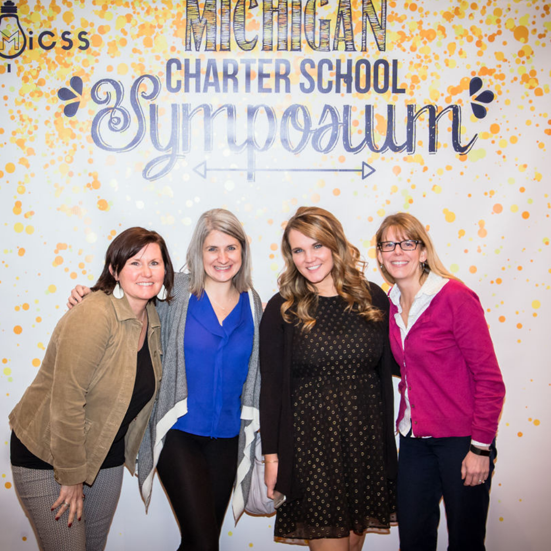 A photo of four ladies at the 2018 Michigan Charter School Symposium.