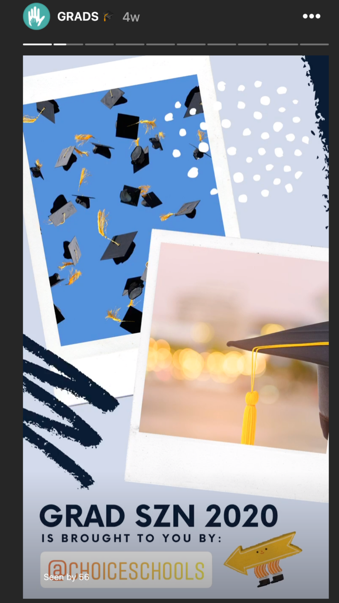 Our 2020 #MiCharterGrad Instagram highlight was Choice Schools. You can see in the bottom left corner that we thank them for their support and link to their Instagram account.