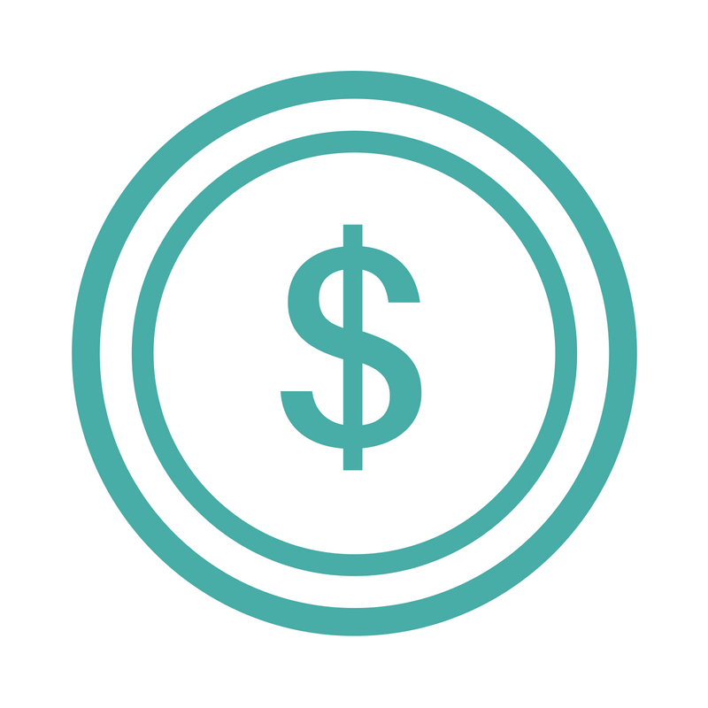 An icon of an American Dollar sign inside two circles.