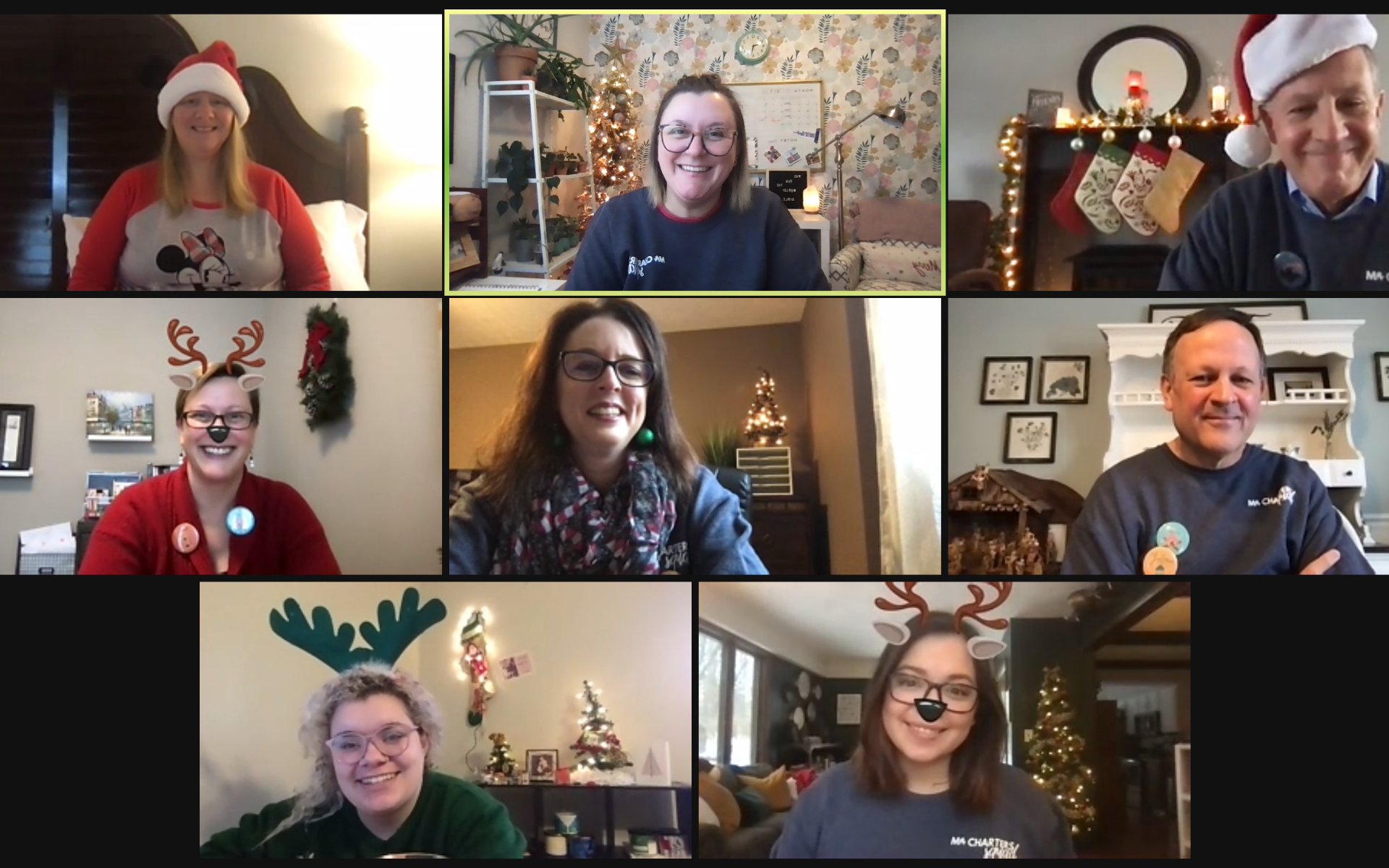 A photo of the MAPSA team meeting virtually via Zoom for a Christmas party.