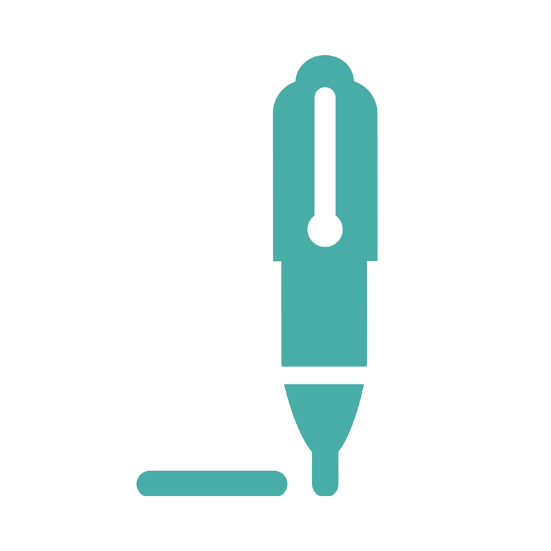An icon of a pen and a line.