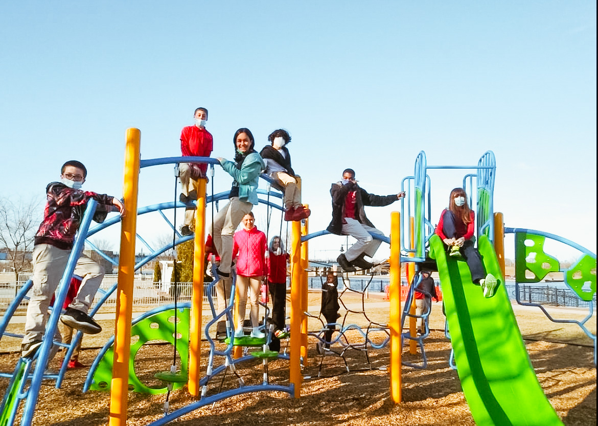 students play on a playground