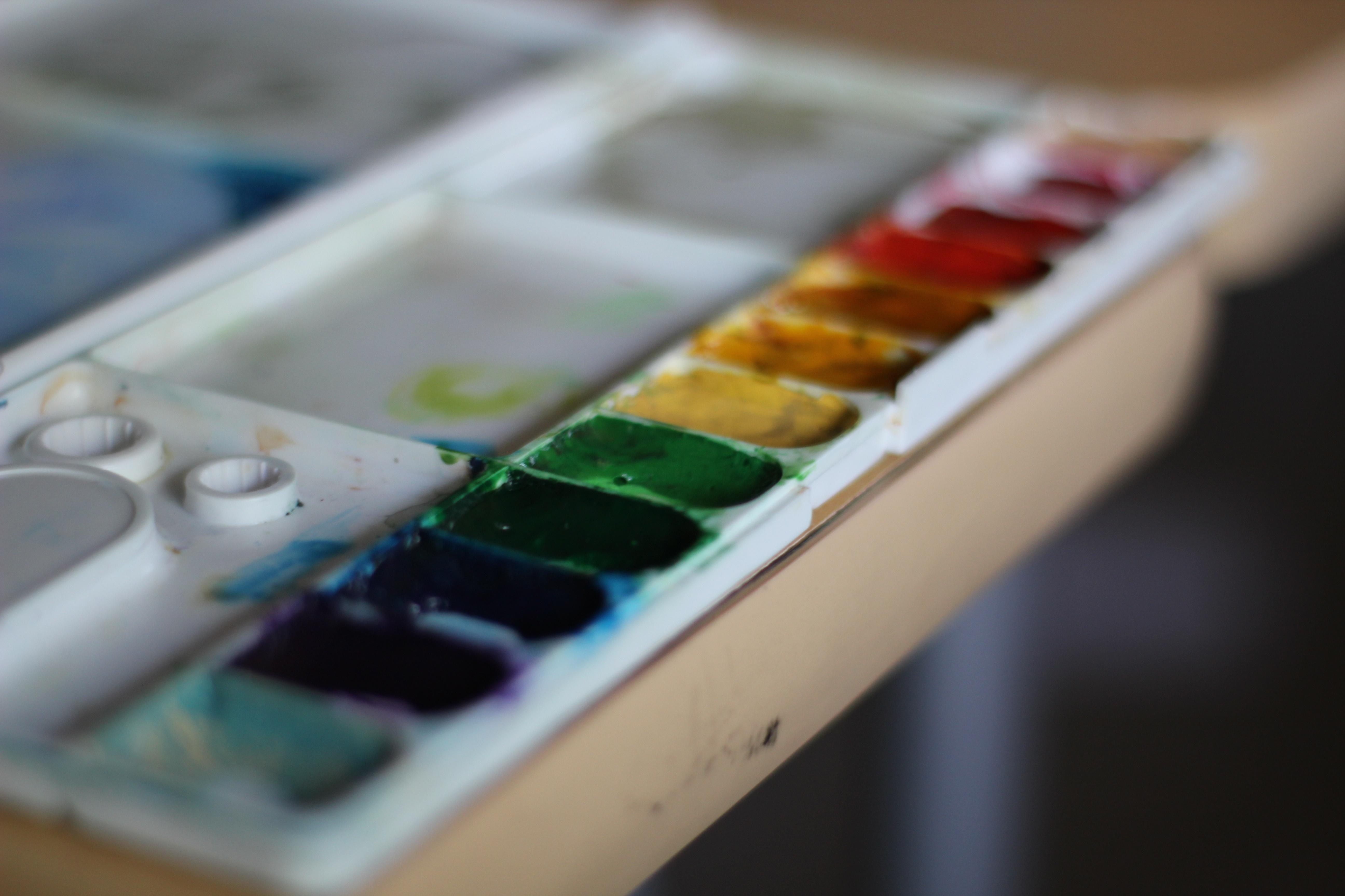 An artistic photo of a paint palette.