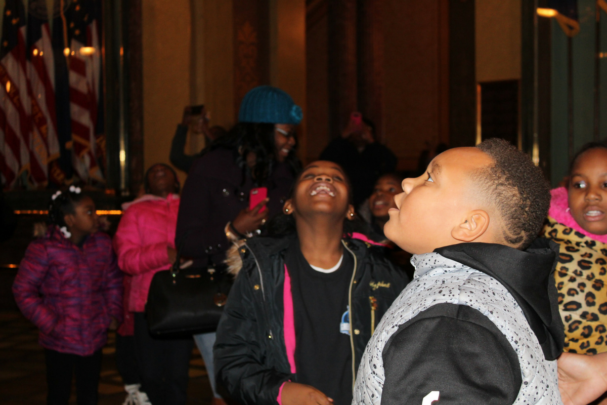 A photo of charter school students at the Lansing Capitol building during 2018 National School Choice Week.