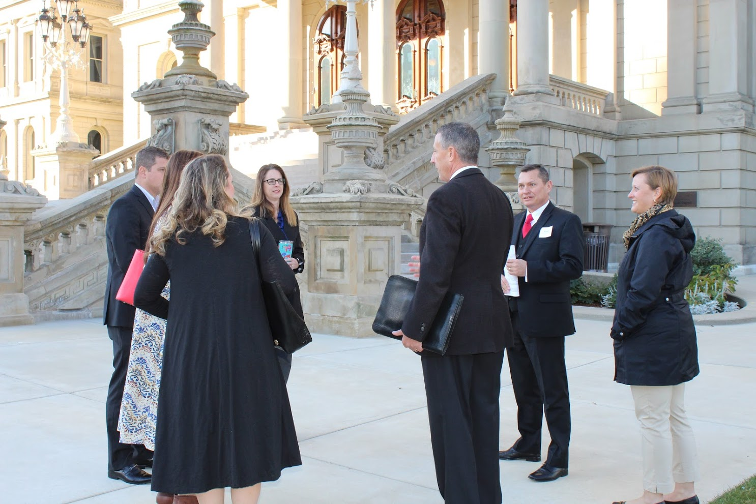 One of the 2018 CMAD groups in front of the Lansing Capitol building.