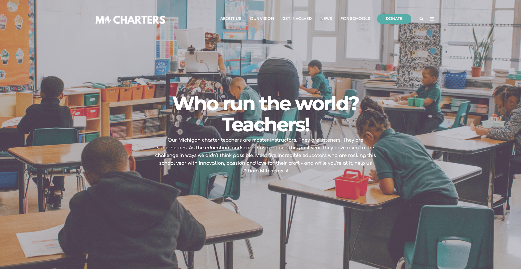 Our Fall 2020 campaign featured 5 teachers from across Michigan. The spring campaign will also have a landing dashboard that looks like this.