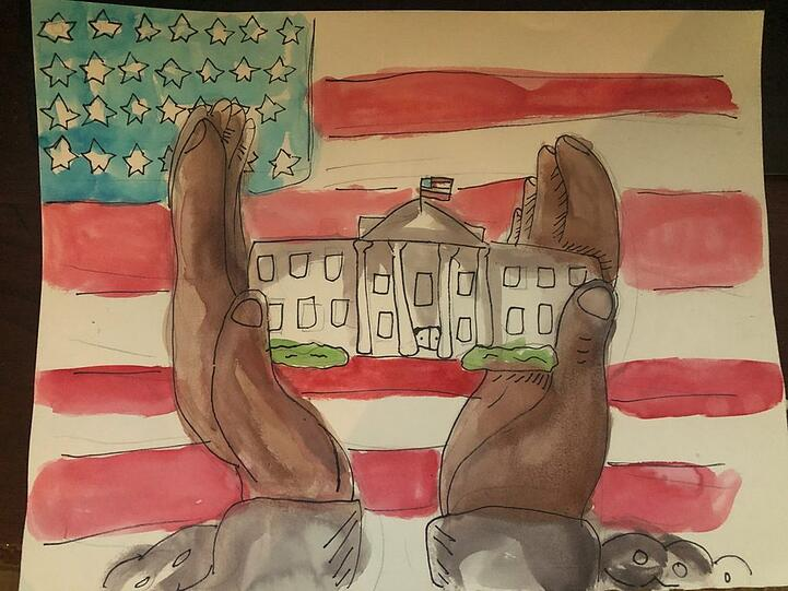 Gabby's winning approach was shown in her artwork entitled Enslaved African Americans Built the White House
