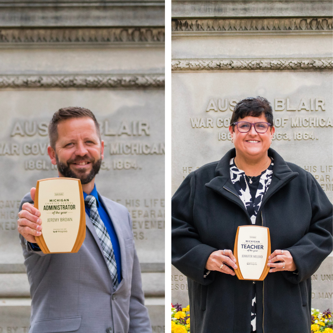 A photo of 2020 MI Charter School Awards winners, Jeremy Brown (left) and Jen Melero (right) holding their physical Awards.
