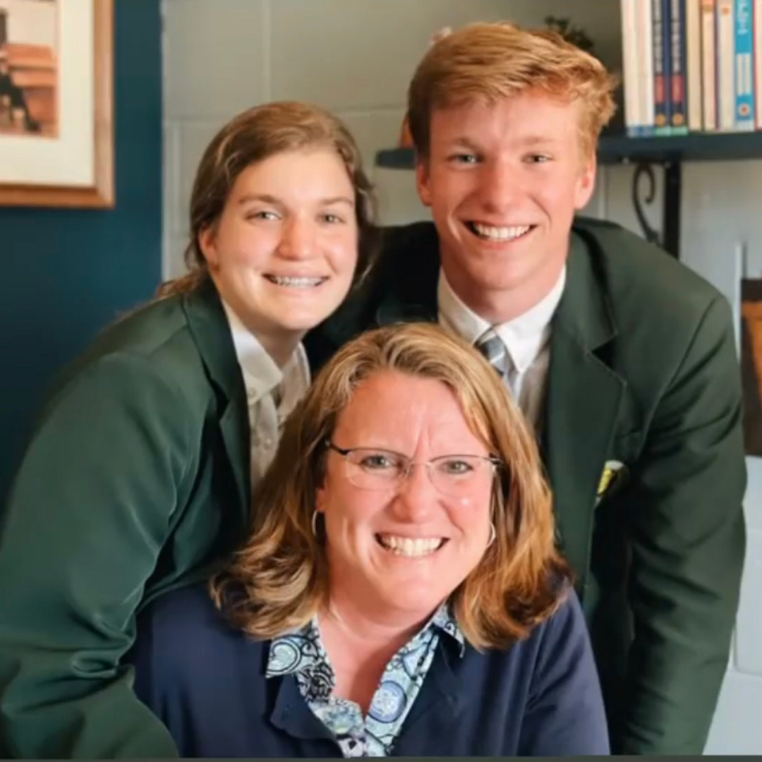 A photo of Gabe Gadwood with his sister and mother, who is also principal at his school, Will Carleton Academy.