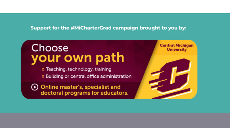 Our premier sponsor gets a large, clickable banner ad at the bottom of our main #MiCharterGrads page.