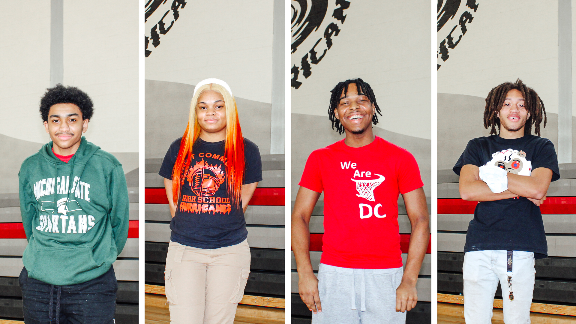 An image cut into four featuring four African America students from Detroit Community Schools.